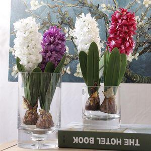 Jacinthe avec ampoule artificielle fleur nouvelle année de fête d'anniversaire soie fleurs Photographie Props pour la maison Décoration de table