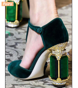 Square Heels Women Pumps Flock T Strap Shoes Women Sexy Point Toe Crown Crystal High Heel Office Pumps Shoes Wedding Y200702