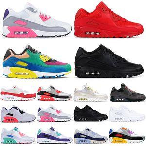 Nike Air Max 90 Nouvelle arrivée CLASSIC 90 sport Chaussures de course pour hommes 90 plage blanc infrarouge sud triple femmes noires de sport en plein air Chaussures de sport