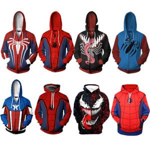 2019 새로운 Homecomig Spider-man PS4 Venom 까마귀 스웨터 3D 프린트 지퍼 자켓 남성 여성 Outwear Streetwear 트랙 슈트 탑스