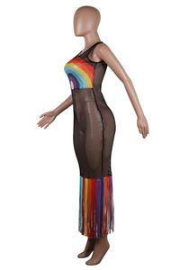 Mulheres Vestido de malha oco Out longa borla Vestidos Beachwear verão Rainbow Color Bodycone saia Biniki Swimwear Cover-ups S-3XL A52106