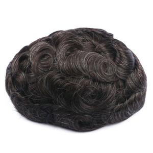 Lace Front Uomo Toupee Pu Toupee da uomo frontale in pizzo con parrucca da uomo Pu Parrucca da uomo di alta qualità Durevole Remy Hair Systems
