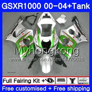 + Depósito para SUZUKI GSX R1000 GSX-R1000 GSXR1000 Verde plata 01 02 03 04 299HM.13 GSXR-1000 K2 K3 GSXR 1000 2000 2001 2002 2003 2004 Carenado