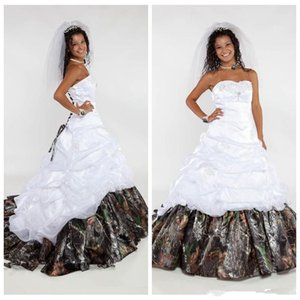 Princess Sweetheart Lace Camo A-Line Wedding Dresses Beading Sequins Real Tree Camouflage Bridal Gowns Bandage Back Custom Plus Size Country