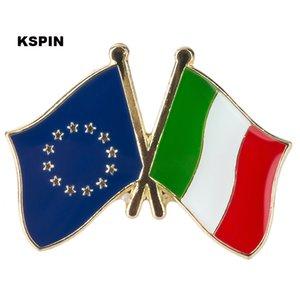 Unione europea Bandiera Italia Distintivo Bandiera Badge Distintivo Pins Spille Distintivo XY0073-5