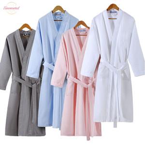 Yaz Aşıklar Kadınlar Waffle Bornoz Moda Kimono Banyo Robe Artı boyutu Seksi peignoir Elbise Gelinlik Robes Giyinme Suck