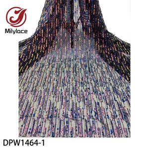 Milylace Dernières Français Paillettes Afrique Dentelle Tissu de haute qualité Tulle nigérian Mesh Inde dentelle pour robe de mariée DPW1464