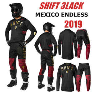 2019 Mexico Endless Shift 3lack Motocross Jersey e pantaloni RED GOLD ATV BMX Set abbigliamento moto Abbigliamento moto MX Combo