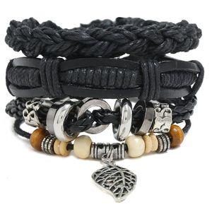 2020 Hot sale 100% genuine leather bracelet DIY Wax rope leaf Pendants Beading Men's Combination suit Bracelet 3styles 1set