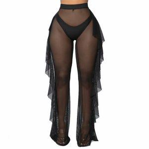 Mulheres Praia Pants Ver Através Sheer malha Ruffle Praia encobrir Pants sólido Beachwear Swimwear Swimsuit encobrir
