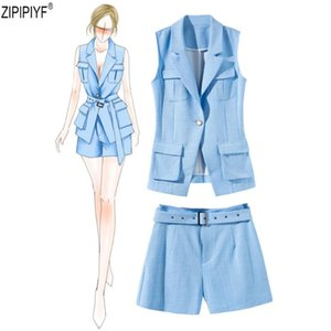 2 piece Women's suit 2018 summer new fashion pant suit turn down collar star vest + wide-leg high waist shorts with sashes C1451