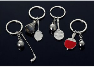 30pcs / Lot Настольный теннис Keychain Пинг-понг Бадминтон брелоков Key Chain Теннис брелок Гольф Key Chain Спорт Keyrings