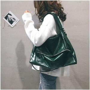 Negro de cuero del nuevo Big Bag para las mujeres de los hombres unisex verde suave Hobo bolso de gran capacidad Casual cadena del bolso un bolso de hombro