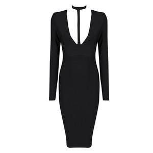 2015 new fashion elegant and sexy women red white black deep v neck long sleeve evening party bandage Dress Dress + suit