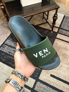 Paris Luxury Designer Mens Womens Summer Sandals Beach Slide Slippers Ladies Flip Flops Loafers Print Solid Color Army Green with Box