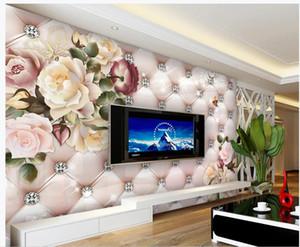 Retro fiore 3D Wallpapers diamante borsa morbida TV sfondo parete 3d murales Wallpaper per soggiorno