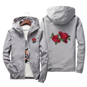 Para mujer para hombre capas de las chaquetas rompevientos Primavera Otoño Streetwear Hip Hop con capucha Cardigan Pareja Tops Rose bordados