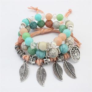 Charms árvore Vida pulseiras pingente de folha de Jewlery para a menina Bohemian vidro Beads pulseira de multicamadas Mulheres Vintage Leather envoltório Vertentes Jóias