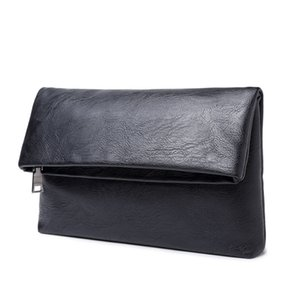 Men's Genuine Leather Clutch Business Folding Bag Hand Caught Handbag Business Black Organizer Wallet