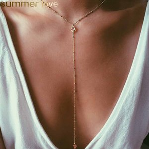 Tiny Y Layering Necklace Bohemian Beach Gold Filled Chocker Necklace CZ Charm Jewelry Para Mujeres Regalos de Damas