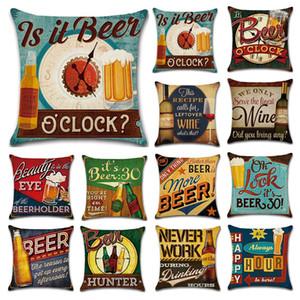 Vacaciones Cerveza Botella caja de la almohadilla del estilo británico retro de almohada cubierta de una cara de impresión 45 * 45cm cubierta de almohadas Inicio decoración de la barra BH3179 TQQ