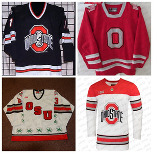 Custom Ohio State Buckeyes 2019 NCAA College Hockey Jersey White Red Stitched Any Number Name Jersey S-3XL