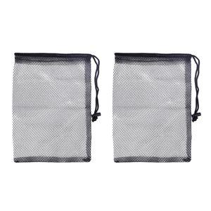 2Pcs Mesh Bag With Drawstring For Gym Shower