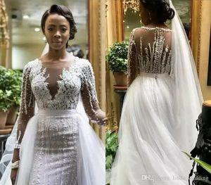 Русалка нигерийские длинные рукава свадебные платья новых южноафриканских чернокожих девочек сад страны церковь невесты свадебные платья на заказ плюс размер