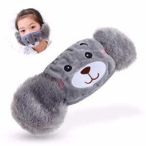 Winter Plush Mouth Mask For Children Face Warm Cover Mask With Earmuff Dustproof Cute Cartoon Bear Pattern