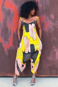 Mulheres Designer Digital Impresso Macacões Moda Verão Macacão de Espaguete Feminino Macacão Casuais Senhoras Soltas Contraste Cor Vestuário
