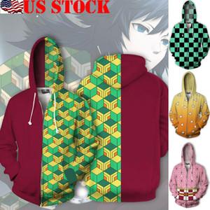 Escudo de Cosplay del Anime Demon Slayer kimono Haori unisex cremallera capa encapuchada del suéter