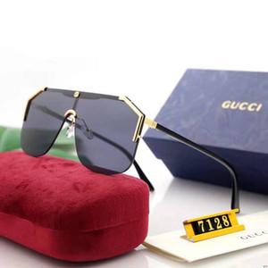 الإطار المعدني الرجال تصميم نظارات شمسية فاخرة المصمم زجاج لرجل Adumbral نظارات UV400 5 ألوان عالية الجودة مع صندوق G7128