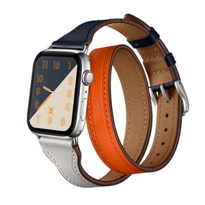 40mm 44mm 럭셔리 더블 손목 가죽 시계 스트랩 correa 애플 시계 4 팔찌 스트랩 iWatch 1 2 3 4 Watch Band 38 / 42mm