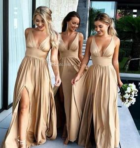 L'oro sexy lunghi abiti da sposa profondo scollo a V Impero Split Piano laterale lunghezza Champagne Beach Boho Abiti da sposa del cliente