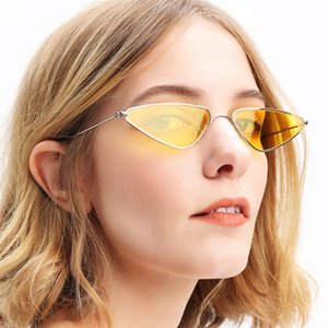 Personalized cat's eye sun triangular sunglasses trendy small frame glasses metal sunglasses