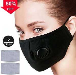 Fashion Cycling Face Mask air activated Exhalation Valve With PM 2.5 Filter Anti-fog Reusable Mouth Cover Black Cotton Face Mask Adult