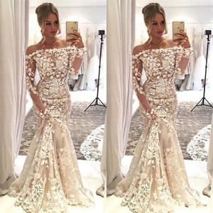 2020 Nueva caliente vestidos de boda de la sirena atractiva africana Hombro mangas Apliques 3D del cordón largo de la ilusión más el tamaño de barrido de los vestidos de novia de tren