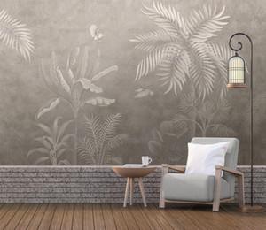 Bacal sur mesure Photo Wallpaper Retro Tropical Rain Forest Palm Banana Feuilles 3D peint Cafe Restaurant Hotel Backdrop Frescoes