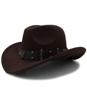 Fashion Men Black Wool Chapeu Western Cowboy Hat Gentleman Hats & Caps Hats, Scarves & Gloves Jazz Sombrero Hombre Cap Elegant Gentleman Mon