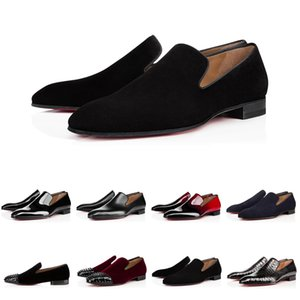 2020 Nova Brandr Red Loafers inferior Luxo Wedding Party Designer Shoe Black Patent camurça Sapato Para Mens mocassim Flats