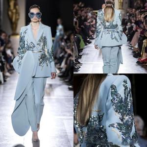 2020 New Elie Saab 2 Stück Jumpsuits Abendkleider Hellblau Pailletten Perlen mit V-Ausschnitt Abendkleider lange Hülsen-Partei-Kleid BC2812