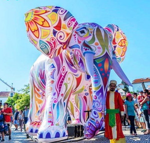 5m Inflatable Painting Parade Elephant Giant Colorful Inflated Tour Elephant with Coloured Drawings LLFA