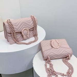 2020 nueva de las mujeres bolsos de la manera del patrón de onda de hombro Bolso niñas cadena cuadrada bolsa bolso de color puro