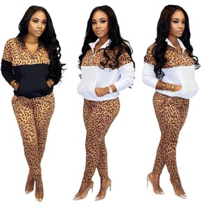 Donne Leopard Tracksuits Skinny Zip Stand Stand Collo Ladies Due Piece Pantaloni Pantaloni Patchwork attivo Femmina 2PCS Set da donna Spring Womens