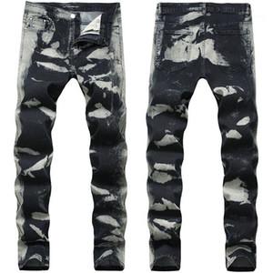 Pencil Jeans Fashion Stretch Long Designer Pants Mid Waist Print Mens Trousers Gray Spots Mens