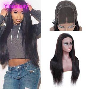 Indiano Raw umani dei capelli vergini del merletto dei 4X4 chiusura del merletto parrucche 8-26inch gratuiti parte indiana Virgin Hair Products 4 per 4 chiusura del merletto Parrucche