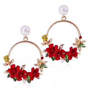 Ethnische Böhmische 18 Karat Gold Überzogene Marke Hoope Baumeln Blume Ohrringe für Frauen Weiße Perle Aussage Ohrringe Großhandelspreis