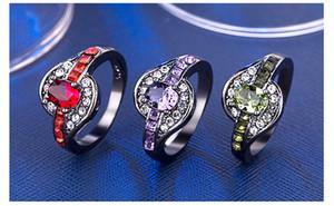 Vintage Black Gold Color Purple / Kırmızı / Kadınlar İçin Yeşil CZ Alyans / Erkekler Takı Birthstone Nişan yüzüğü Bijoux Hediye Bague