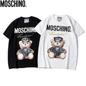 HOT Marca moschino letra Mens O-pescoço camisetas moschinos men Hip Hop impressão manga curta cristal lantejoulas Shirts Moda Womens Shirts tamanho S-XXL