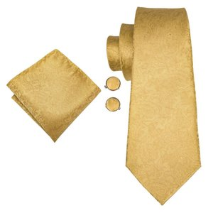Привет-Tie Silk Мужчины Tie Set Цветочные Желтое золото Галстуки и платки запонки Set Мужская Свадьба Костюм Мода шеи галстук C-3053